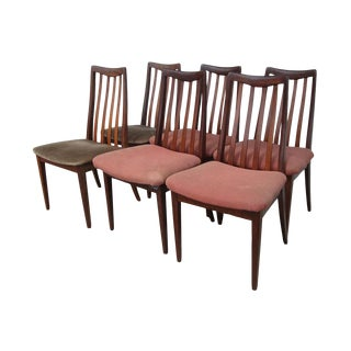 Vintage Midcentury Rosewood Slat Back Chairs For Sale