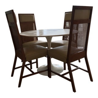 Set of Four Mid-Century Modern Walnut and Cane Chairs