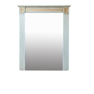Directoire Style Column Greek Key Trimmed Powder Blue and Gilt Trumeau Mirror For Sale