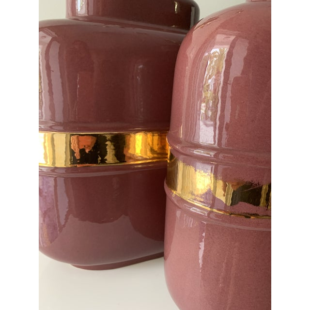1980's Modern Abstract Form Mauve and Gold Lamps - a Pair For Sale - Image 9 of 12