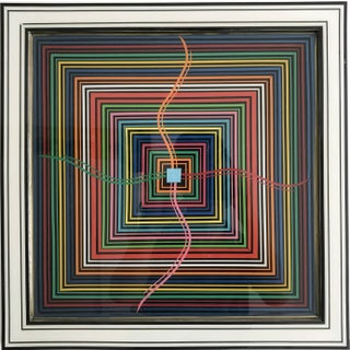 """""""Epicenter"""" Contemporary Abstract Geometric Mixed-Media Painting by Mauro Oliveira, Framed For Sale"""