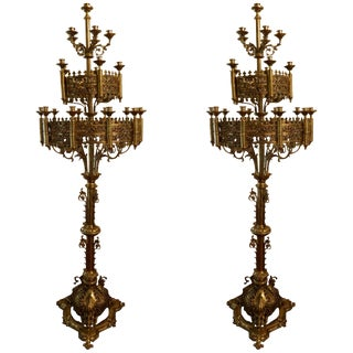Pair of Large Floor Standing Brass Candelabras, Circa 1860 For Sale