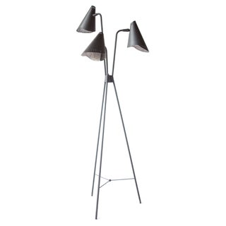 Lightolier Black 3- Head Floor Lamp