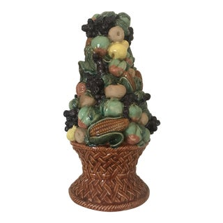 Autumn Majolica Fruit and Vegetable Topiary in Ceramic Basket For Sale
