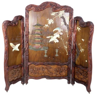Antique Japanese 3 Panel Carved Folding Screen For Sale