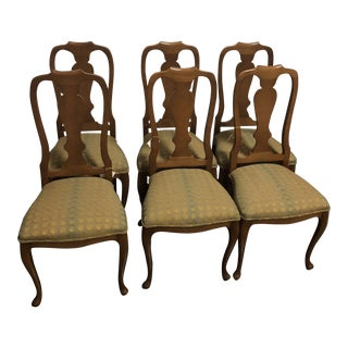 1990s Vintage Queen Anne Side Chair- Set of 6 For Sale