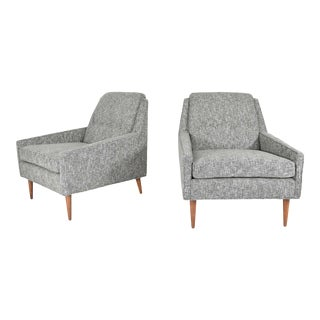 Mid Century Modern Style Lounge Chairs in New Upholstery For Sale