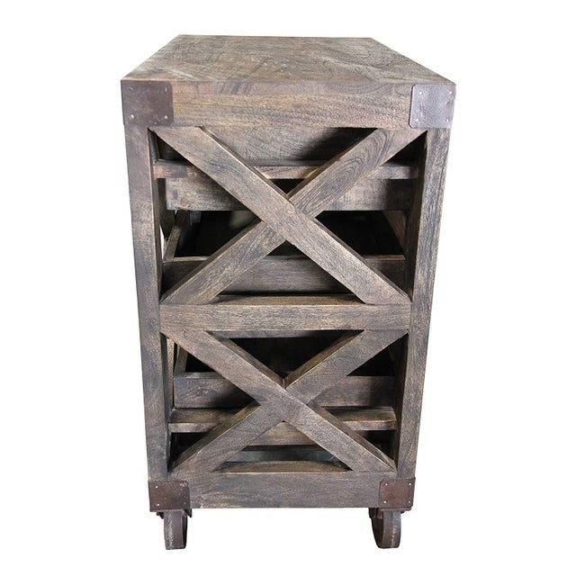Rustic 6-Drawer Wooden Chest With Wheels For Sale - Image 4 of 8