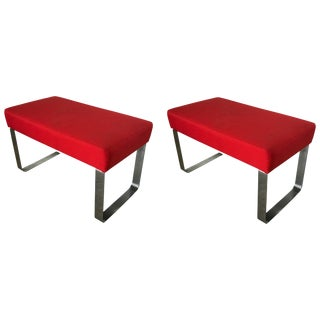Pair of Modern Chrome and Red Benches or Stools Milo Baughman or Pace Style For Sale
