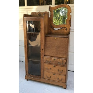 Vintage Wooden Vanity With Storage and Secretary Desk Preview