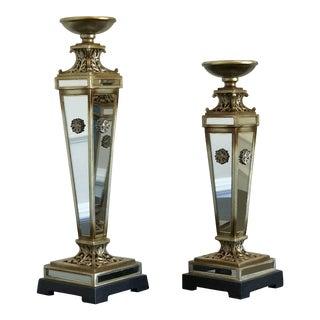 Mirrored Pillar Candleholders - a Pair