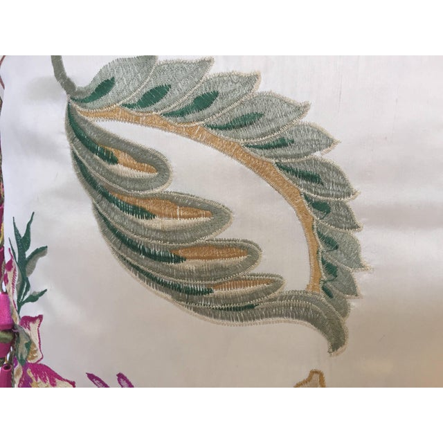 White Vintage Colorful Silk Pillow With Spring Fresh Flowers Designs and Trim For Sale - Image 8 of 13
