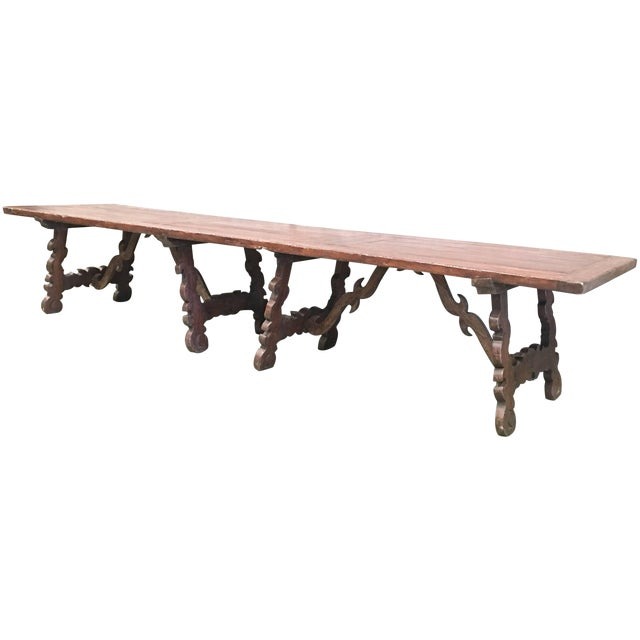 Early 19th Century French Baroque Style Walnut Trestle Dining Farm Table 163´ For Sale