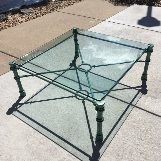 Mid-Century Modern Patinated Bronze Base Heavy Glass Top Coffee Table After Giacometti For Sale - Image 9 of 13