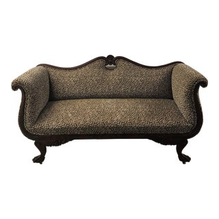 Early 20th Century Antique Leopard Print Sofa For Sale