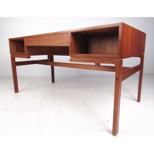 1970s Mid-Century Modern Teak Double-Sided Desk For Sale - Image 5 of 11