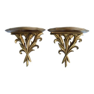 20th Century Hollywood Regency Gold Gilt Wood Wall Brackets/ Shelves - a Pair For Sale