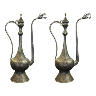 Middle-Eastern Metal Ewers - a Pair For Sale