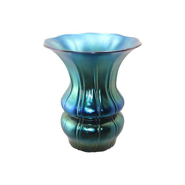 Authentic 1930's Steuben Blue Aurene Ribbed Vase For Sale