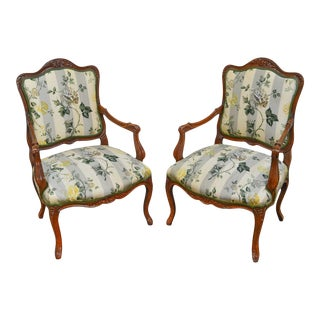 French Louis XV Style Custom Pair of Carved Oak Frame Fauteuils Arm Chairs For Sale