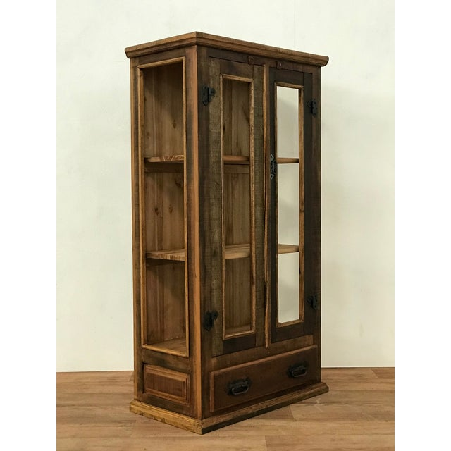 Brutalist Reclaimed Wood & Glass Display Cabinet For Sale - Image 3 of 4