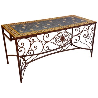 Moroccan Rectangular Mosaic Work Desk For Sale