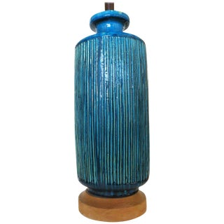 Large Aldo Londi Style Blue Rimini Art Pottery Lamp For Sale