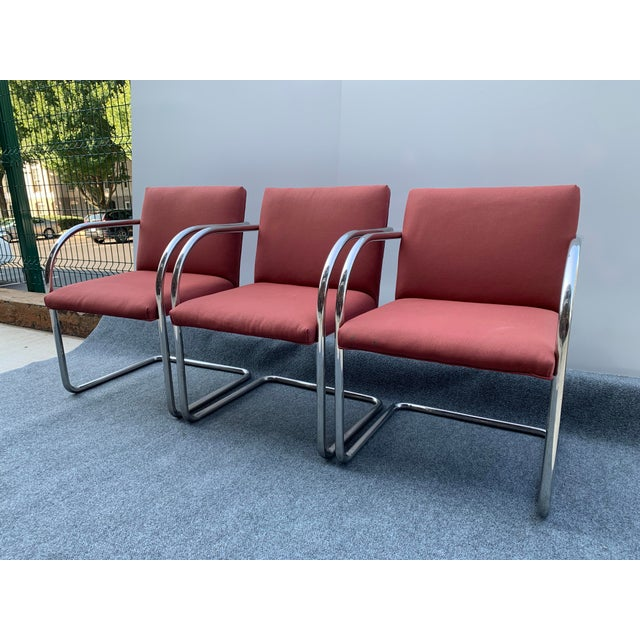 Mid-Century Modern 1970s Chrome Cantilever Chairs Attributed to Thonet - Set of 3 For Sale - Image 3 of 12