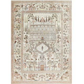 Antique Persian Palace Scene Tabriz Rug - 10′10″ × 15′6″ For Sale