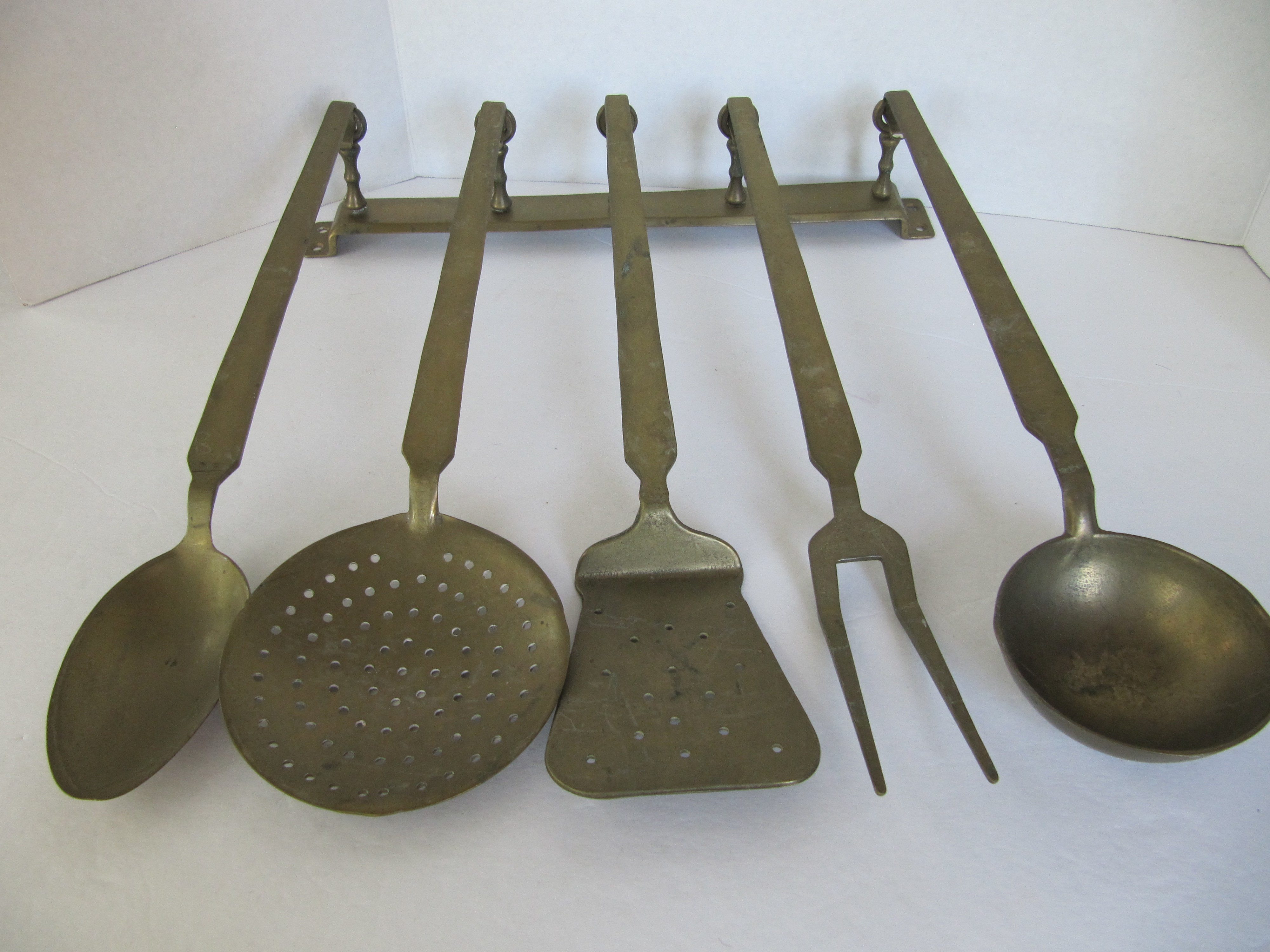 Vintage Hanging Brass Utensils   Set Of 5   Image 7 Of 7