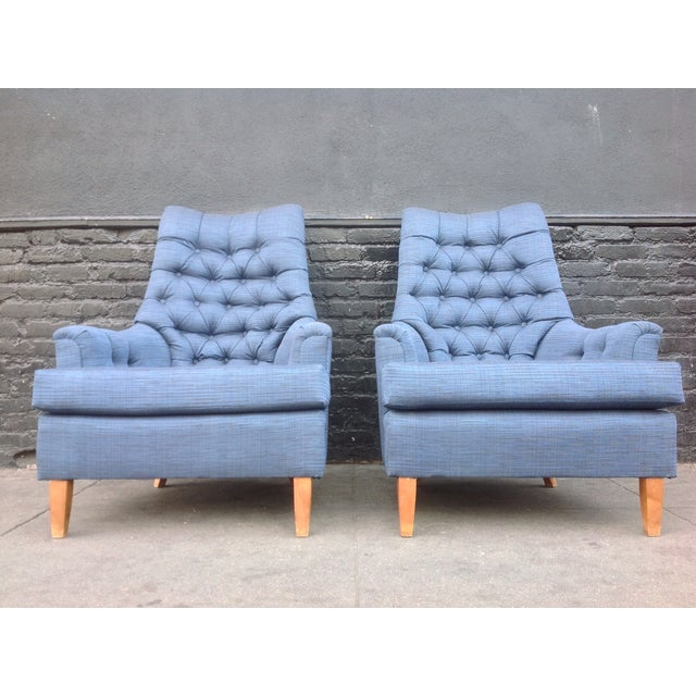 Mid-Century Tufted Blue Lounge Chairs - A Pair - Image 3 of 7