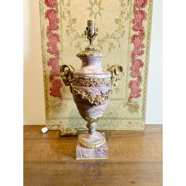 French Breche Violette Marble Urn Lamp With Gilt Rams Head and Swags For Sale - Image 9 of 11