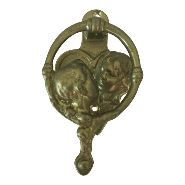 Brass Lover's Embrace Door Knocker For Sale