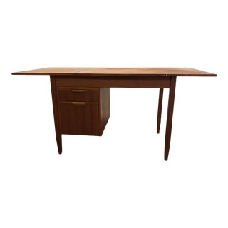 Vintage Mid Century Danish Modern Drop Leaf Writing Desk in the Style of Arne Vodder For Sale