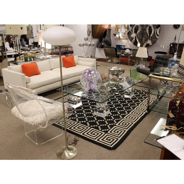 Transparent Mid-Century Modern Lucite Glass Coffee Table by Karl Springer Comatec, France 1970s For Sale - Image 8 of 10