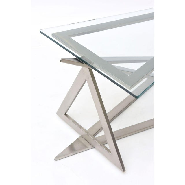 Glass Italian Modern Stainless Steel and Glass Table Attributed to Giovanni Offredi For Sale - Image 7 of 10