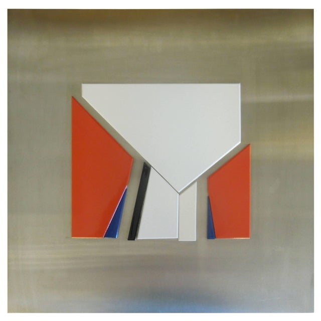 Rare 1971 Jean Baier Metal and Wood Abstract, Geneva Gallerie For Sale In Palm Springs - Image 6 of 6