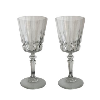 Vintage Crystal Mid-Century Modern Wine Glasses - A Pair For Sale