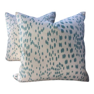 Brunschwig & Fils Pillows in Les Touches Aqua and Cream Cotton - a Pair For Sale