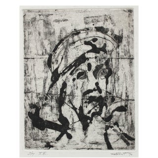 """""""t.e."""", 3/7 Abstracted Monochromatic Portrait 1970 Woodcut For Sale"""