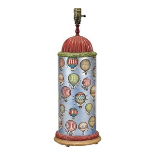 Tall Designer Hot Air Balloon Decoupage Art Glass Lamp