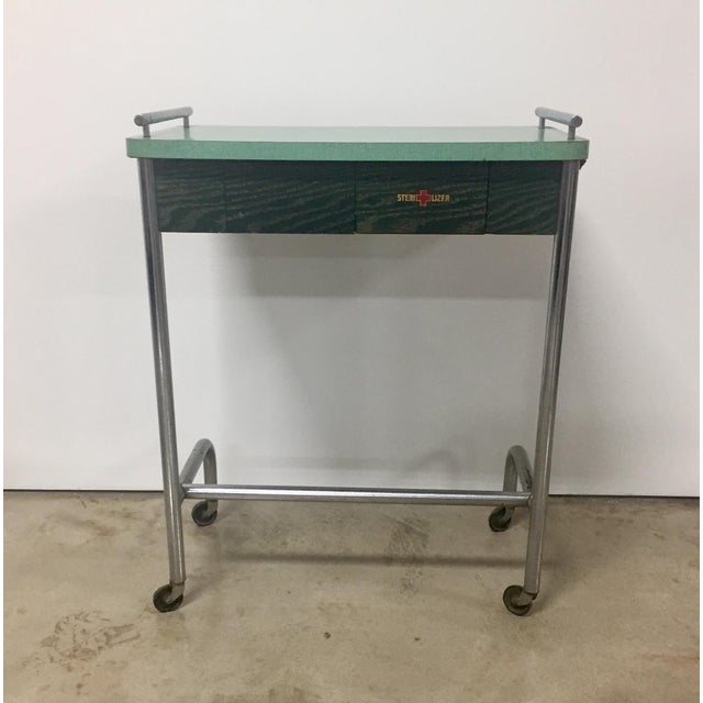 1940s Industrial Tubular Steel Rolling Stool and Cantilevered Table For Sale - Image 4 of 7