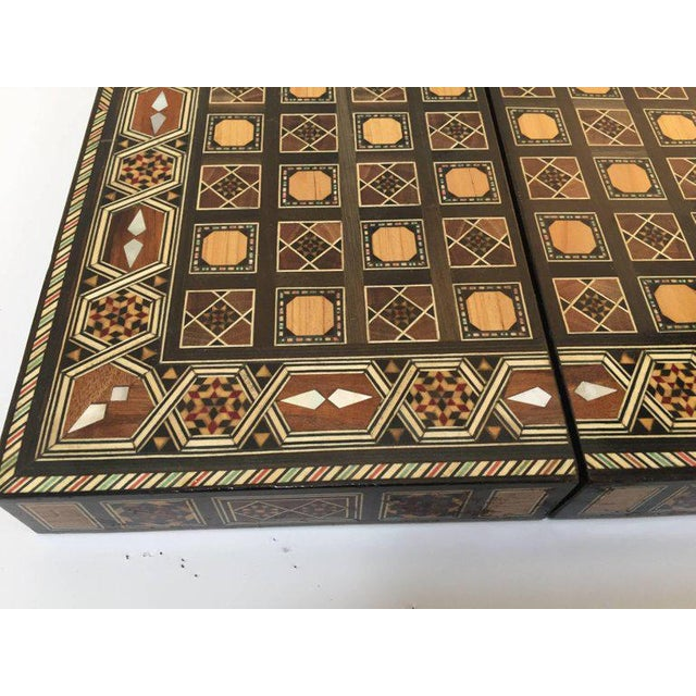 Fruitwood Syrian Inlaid Mosaic Backgammon and Chess Game Box For Sale - Image 7 of 10