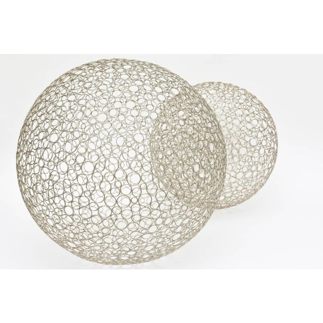 Modern Pair of Sculptural Interweaved Balls For Sale - Image 3 of 9