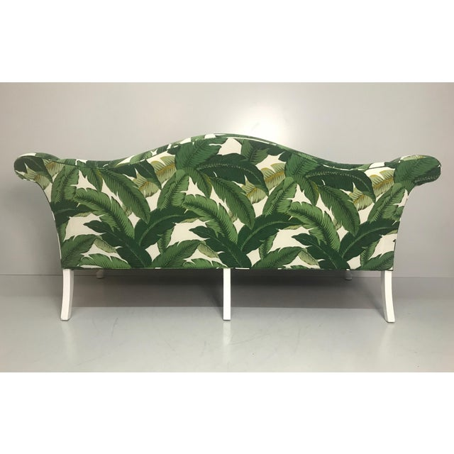 Vintage Camel Back Sofa in Tommy Bahama Palm Print Fabric For Sale - Image 4 of 8