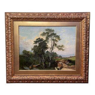 19th Century English Landscape Oil Painting In The Style of George Cole, Framed For Sale