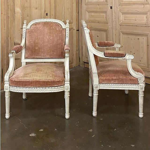 French Pair 19th Century French Louis XVI Painted Armchairs ~ Fauteuils For Sale - Image 3 of 13