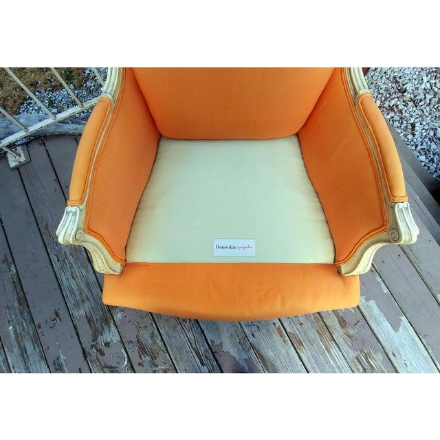 Henredon White Frame Orange Upholstery Louis XV Down Fill Bergere Chair For Sale - Image 10 of 13