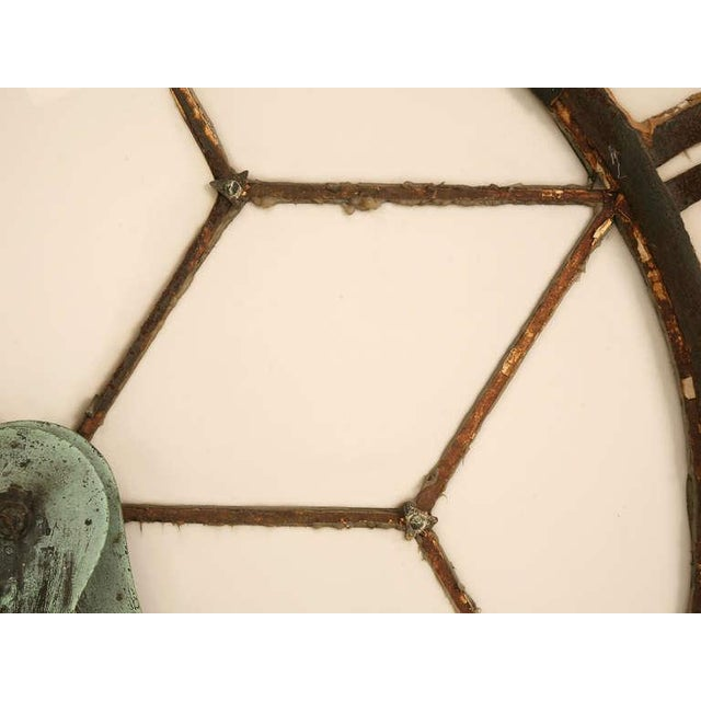 Circa 1860 Cast Iron English Clock Face With Copper Hands For Sale - Image 10 of 11