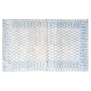 Vintage Blue & White Cotton Agra Rug 4'x6' For Sale